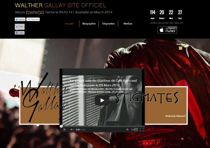 """Le site officiel du projet solo """"Stigmates"""" du chanteur de Café Bertrand"""